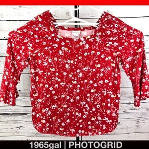 Liz Claiborne Large Red White Flowers Rayon Blouse